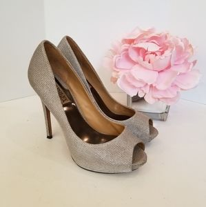 Badgley Mischka silver high heels shoes